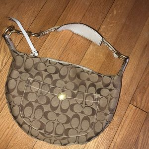 Tan and White small coach shoulder bag!
